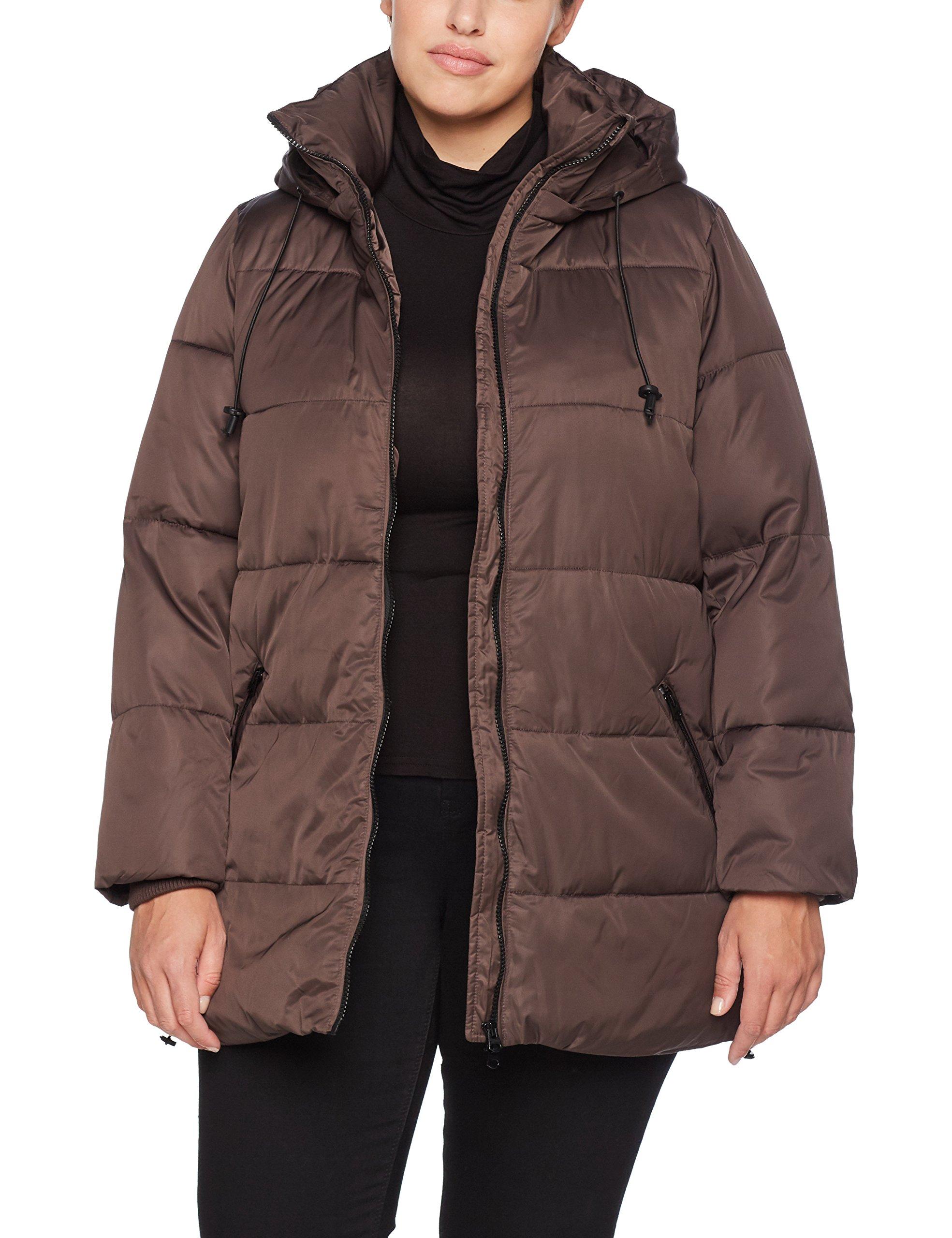 Ulla Popken Große Größen Damen Jacke Steppjacke mit Kapuze Braun (Beige 35), 48 (Herstellergröße: 46+)