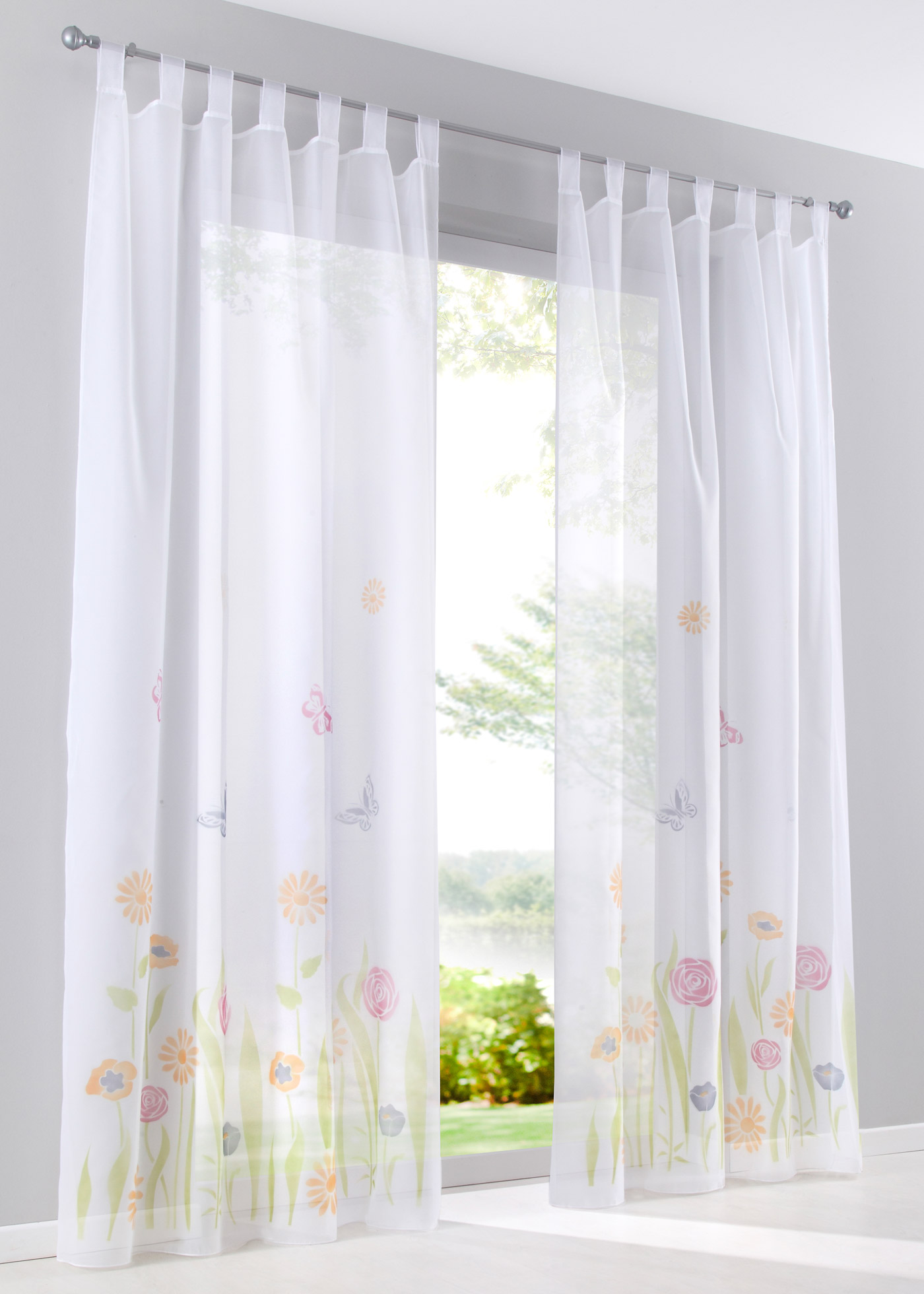 Bpc Living Bonprix Collection Transparente Gardine Mit Blumen 1er Pack In Grün Bonprix