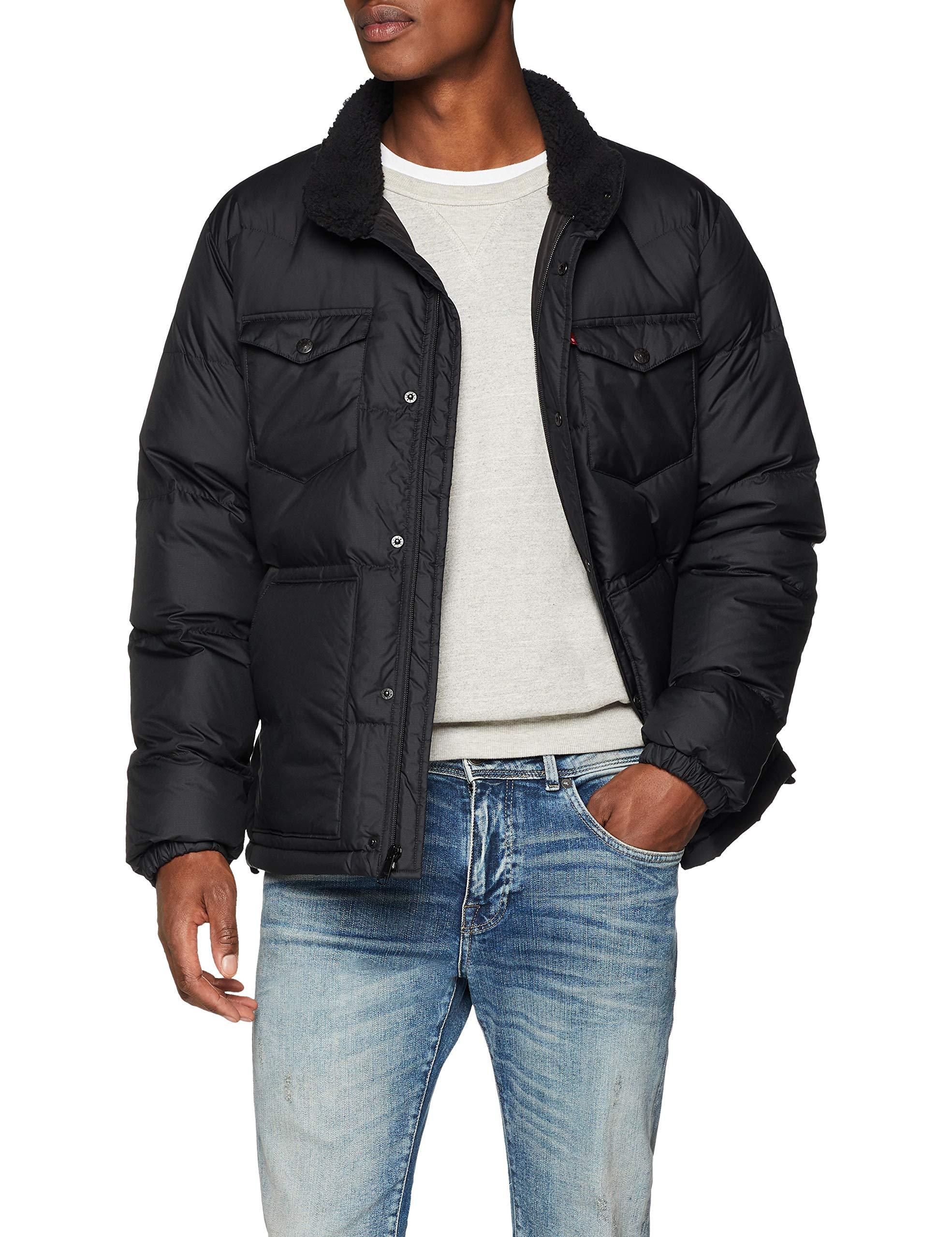 Levi's Herren Down Barstow Puffer Jacke, Schwarz (Black 0000), Large