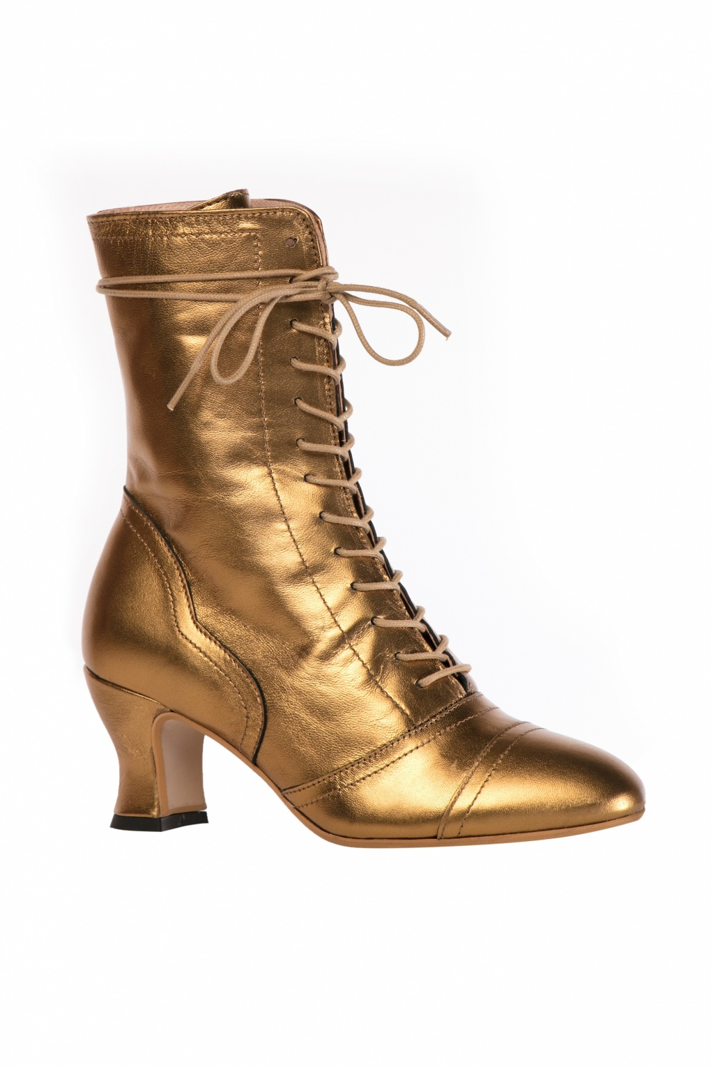 Miss L Fire 40s Frida Lace Up Booties in Gold