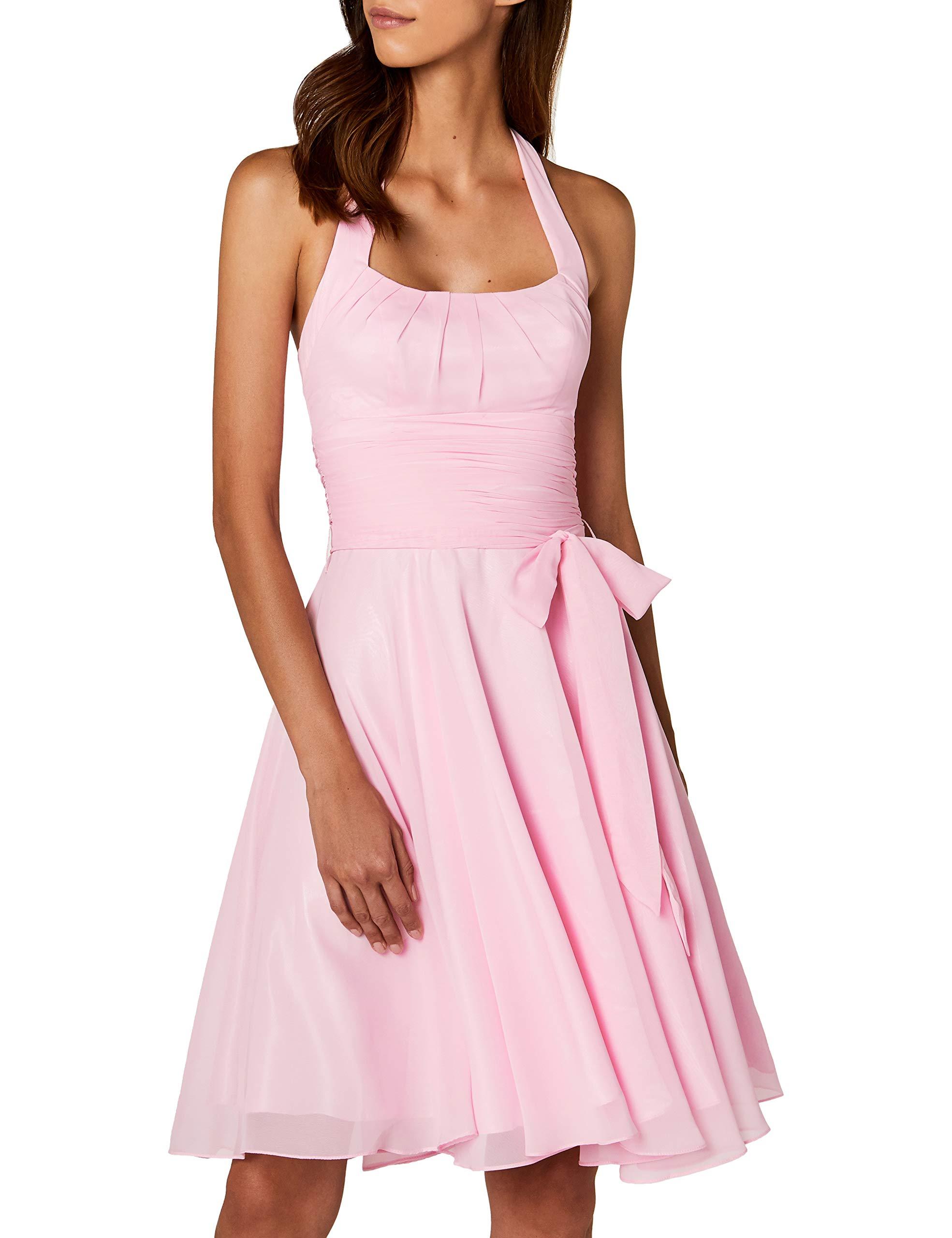 online store 4dc1d 90087 Astrapahl Damen Cocktail Kleid Neckholder, Knielang, Einfarbig, Gr. 36, Rosa