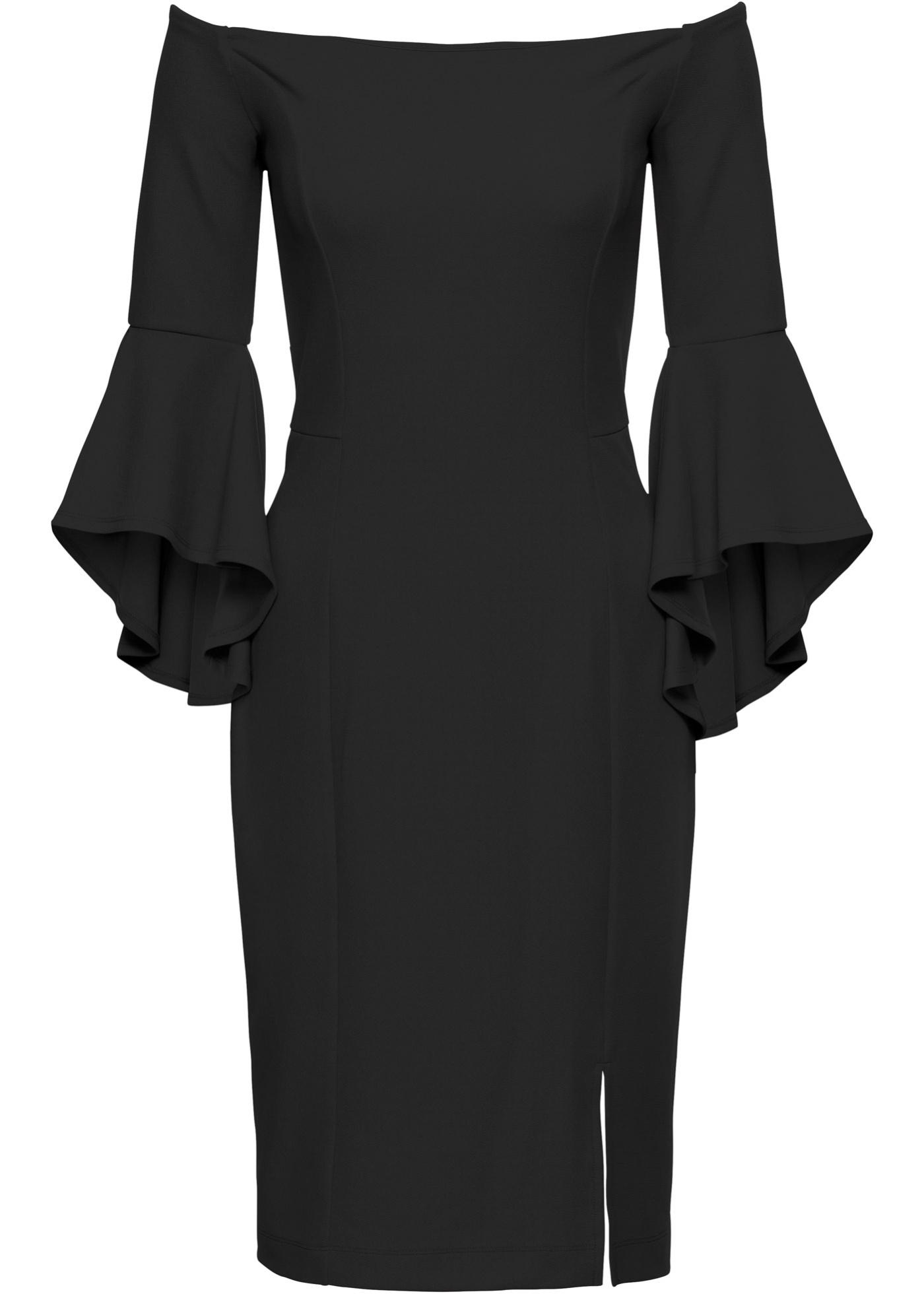 d2e2da9d55857 BODYFLIRT boutique Carmen-Kleid mit Trompetenärmeln in schwarz für ...