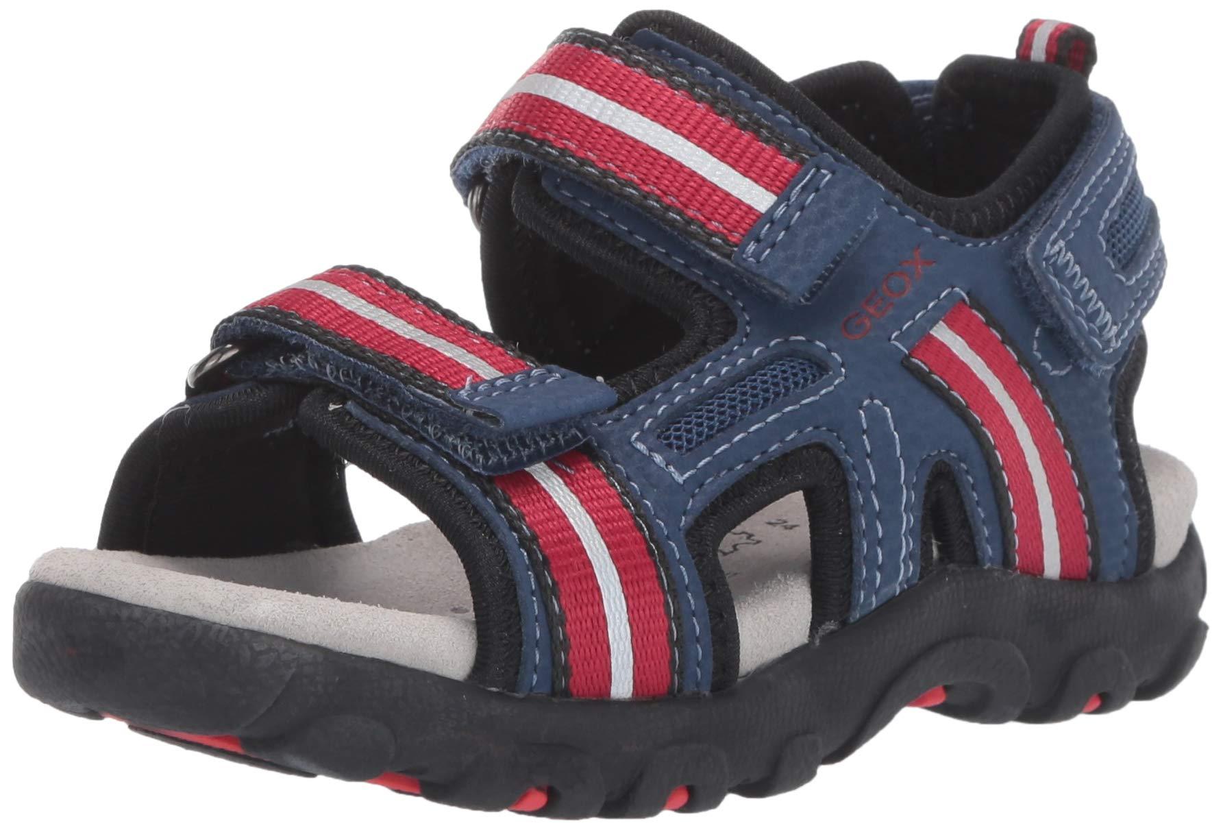 get new cheap autumn shoes Geox Jungen JR Strada A Peeptoe Sandalen, Blau (Blue/Red C0200), 29 EU