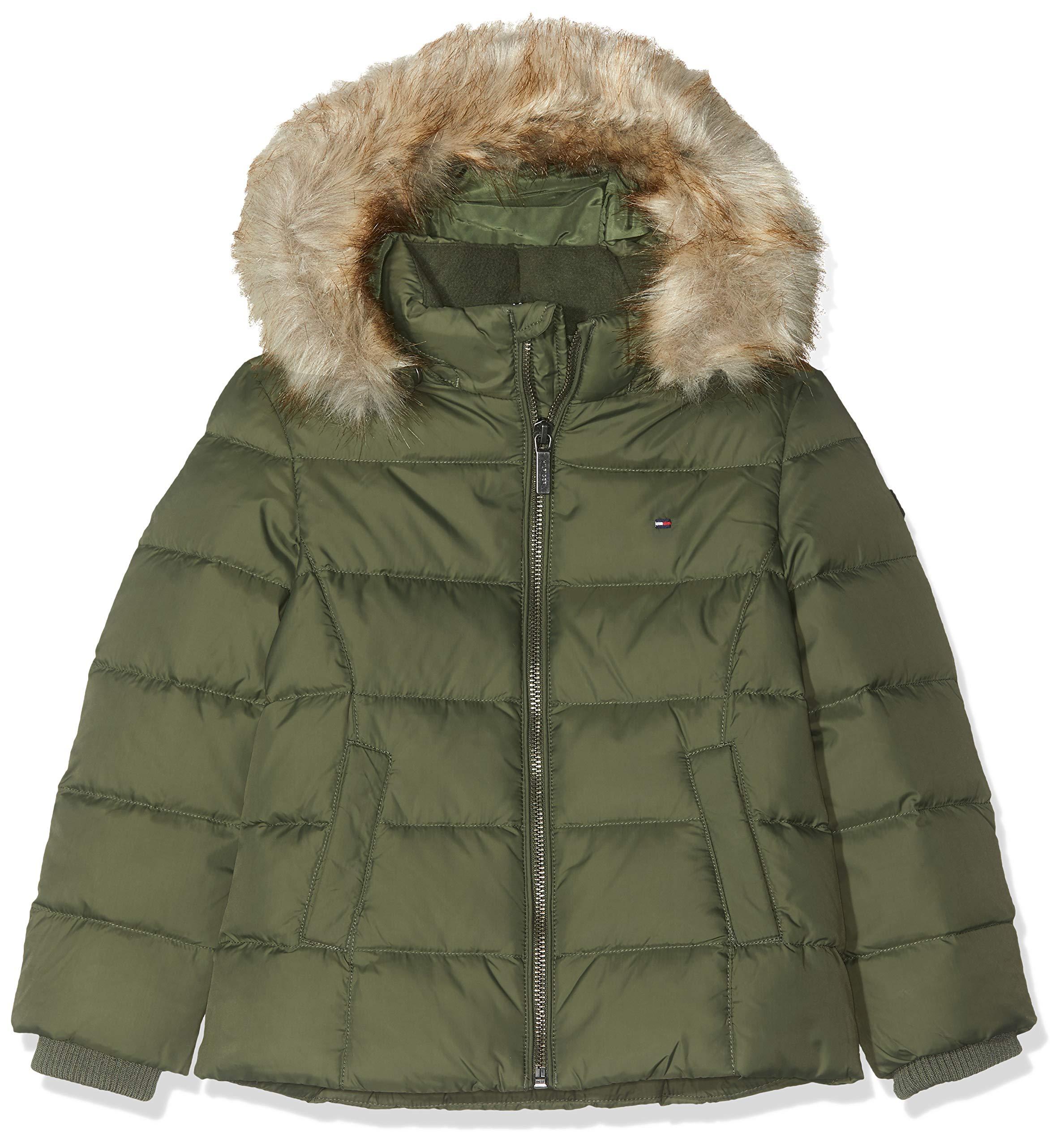 TOMMY HILFIGER Mädchen Essential Basic DOWN Jacket Jacke, Grün (Thyme 304), (Herstellergröße:92)