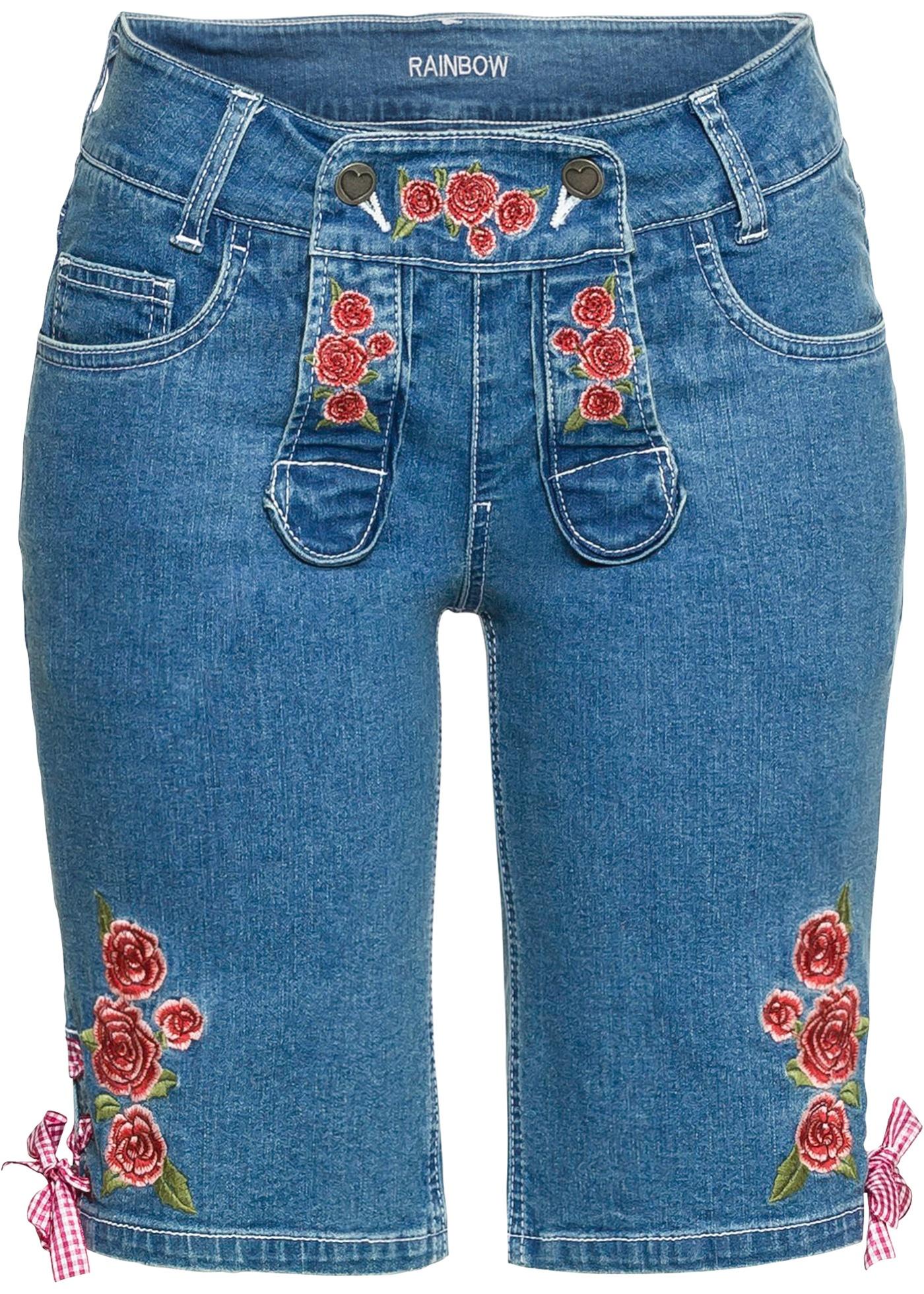 Details zu Dirndl Trachten Damen Jeans Shorts 36 Bermuda Hose blau kurz mit Ziernähten