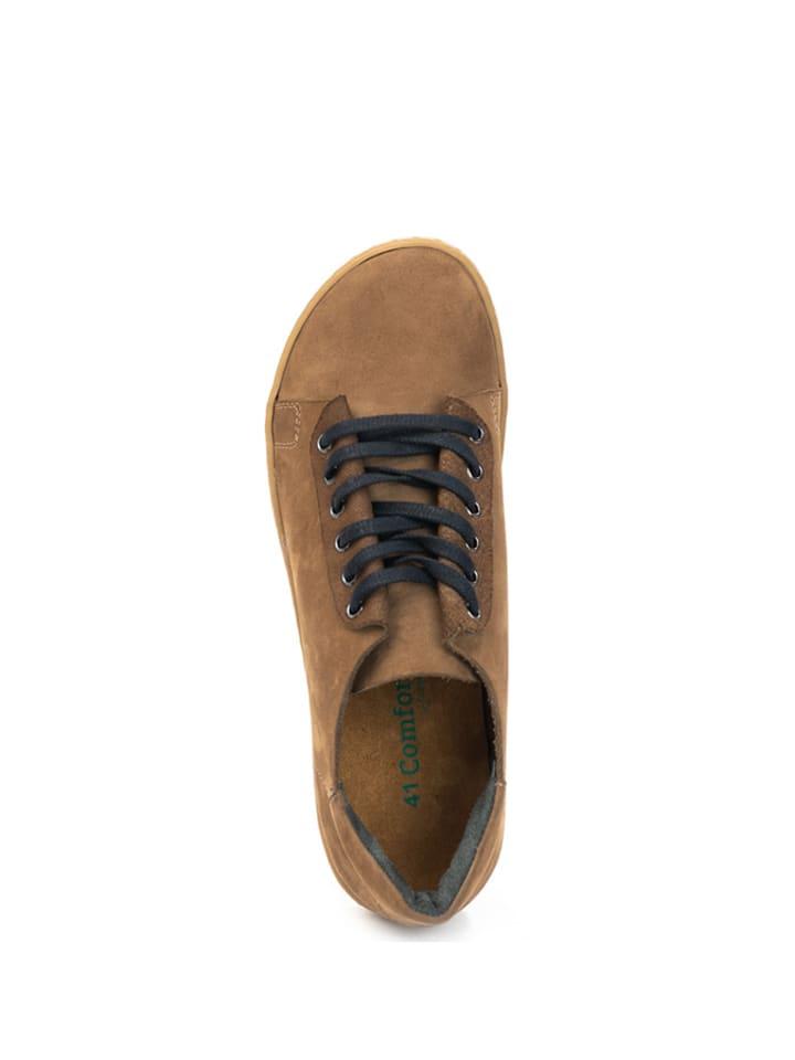 Comfortfusse Leder Sneakers in Sand | Größe 40