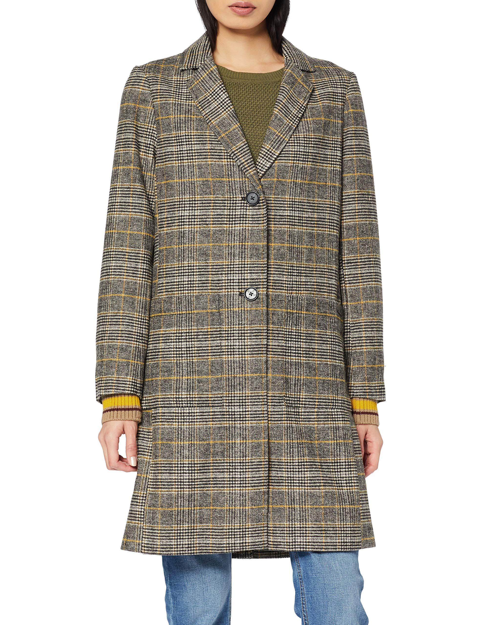 good out x new design offer discounts s.Oliver Damen 14.909.52.3302 Mantel, Gelb (Curry Glencheck 15R0),  (Herstellergröße:34)