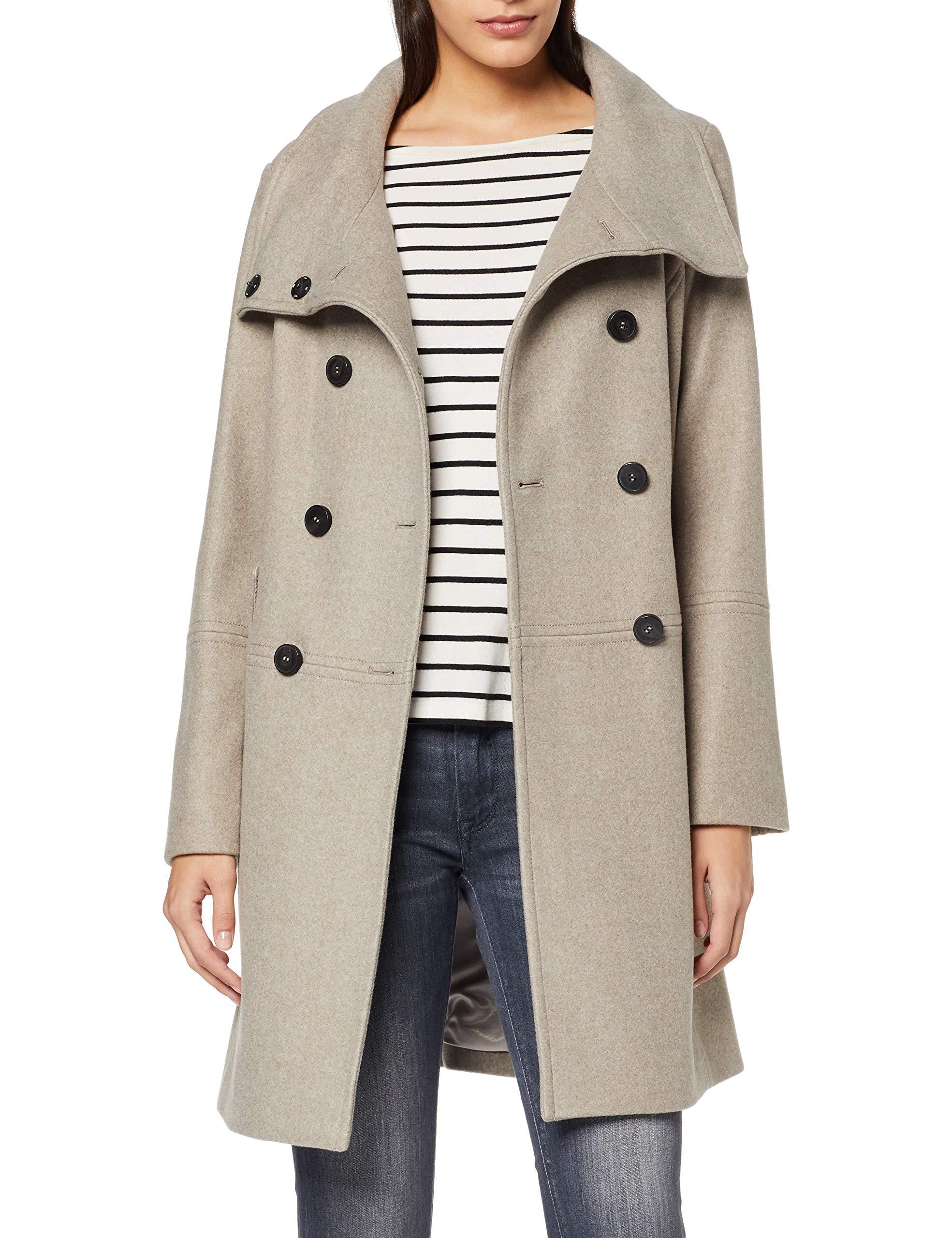 Optik s Oliver Label RED 38 Mantel Damen Zweireiher Woll Brown Melange in SVqUpMGz