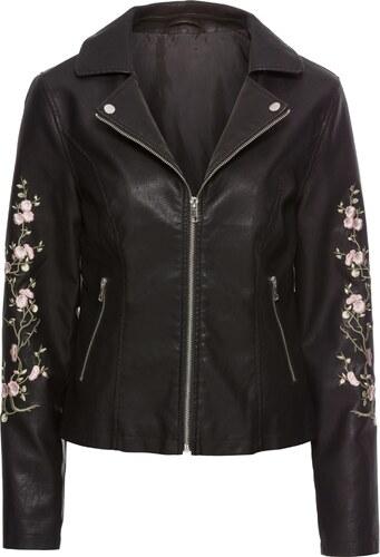 BODYFLIRT Bikerjacke mit Blumenstickerei langarm in schwarz