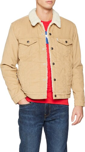 Levi's® Vintage Fit Sherpa Trucker Jacket aus Baumwolle Hellgrau