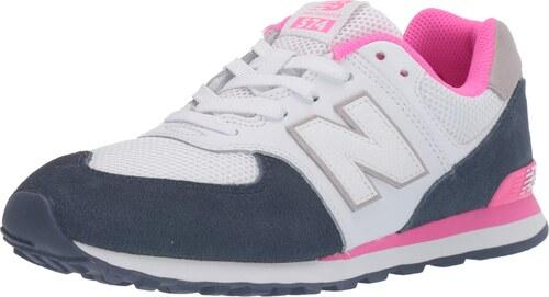 New Balance Mädchen 574 Sneaker, Weiß WhiteNavy, 35.5 EU