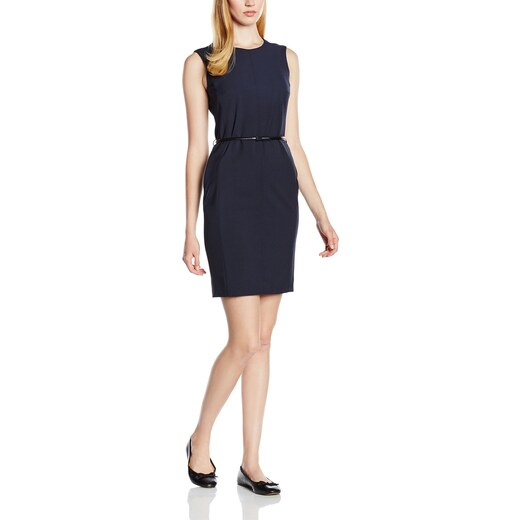 ESPRIT Collection Damen 995EO1E902 mit Gürtel Kleid, Blau