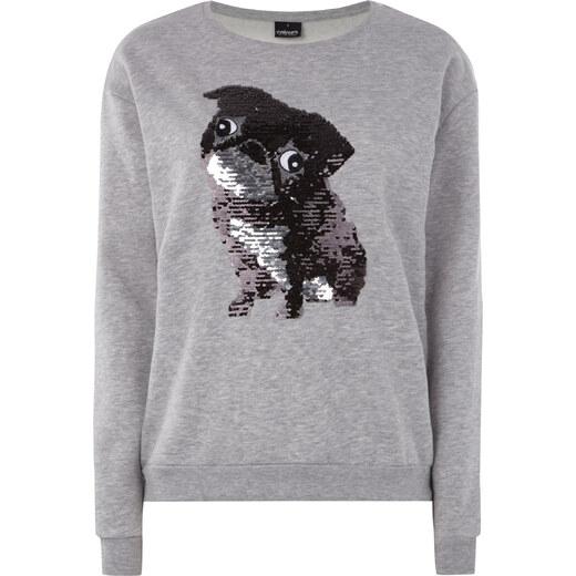 Takko Damen Sweatshirt mit Mops aus Wende Pailletten