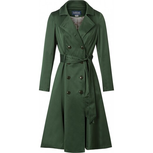 Collectif Clothing 40s Korrina Swing Trench Coat in Green